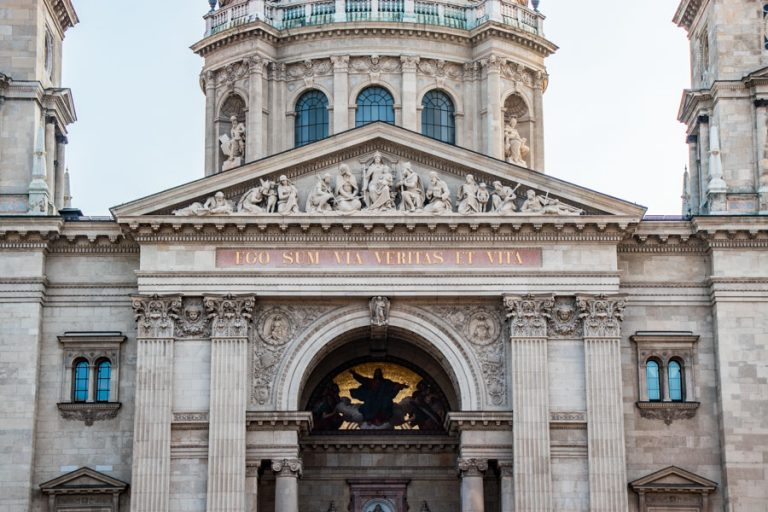 Statues above the main entrance of St. Stephen's Basilica