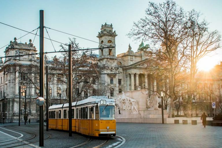 Tram in front Palace of the Ministry of Justice