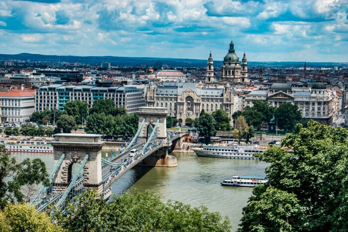 View from Buda Castle, the Chain Bridge