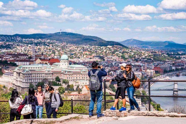 Tourists on the top of Gellért Hill