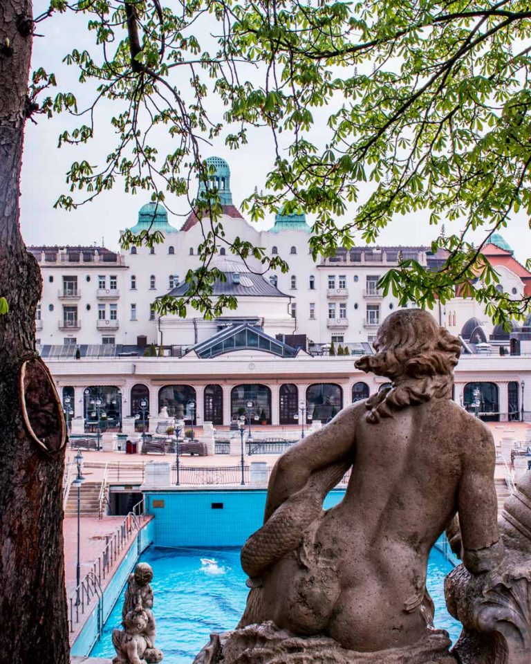 A statue of Gellért Baths