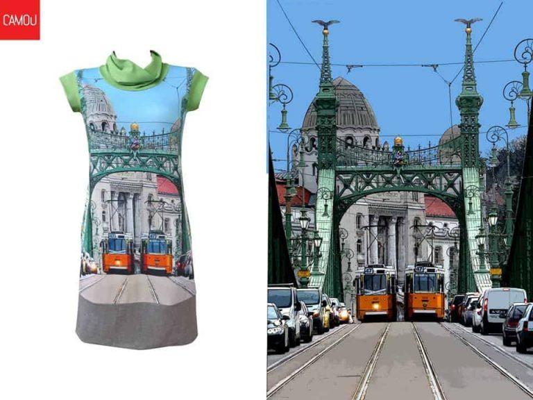 Camou dress with city pattern