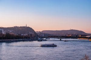 View of Budapest and its bridges during sunset