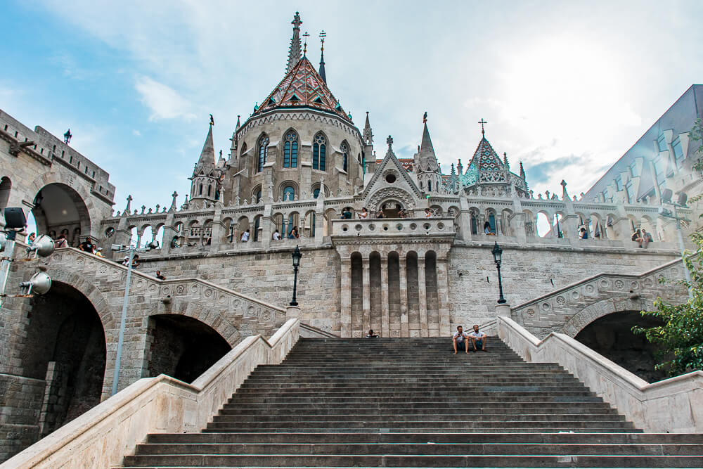 The grand staircase of Fisherman's Bastion photographed from it bottom