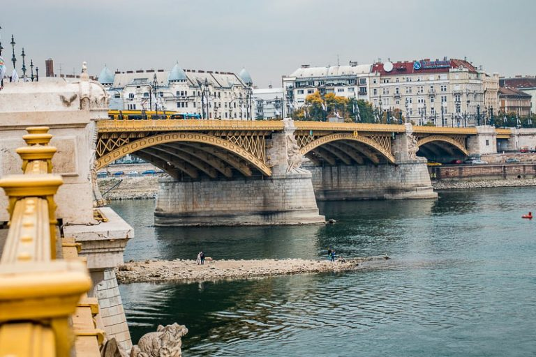 Margaret bridge and the flowing Danube