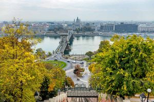 View from the funicular in Budapest during fall