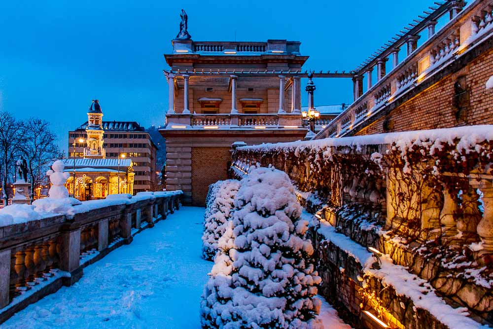 Budapest Castle Garden in snow at night