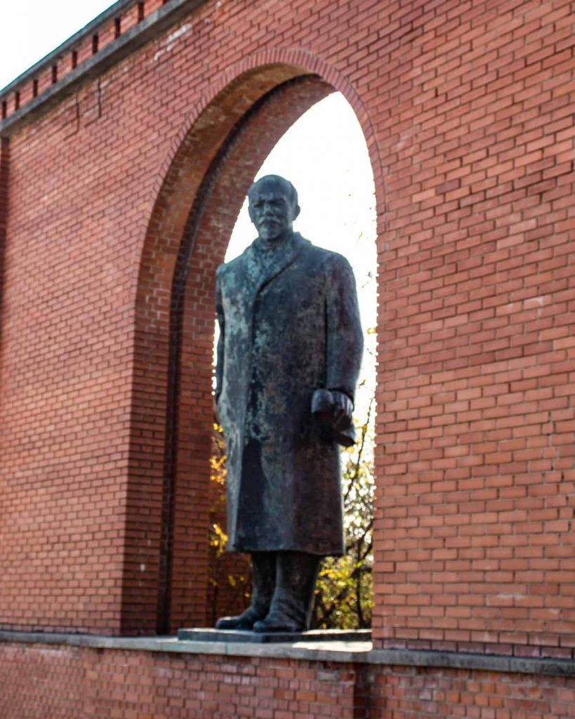 Statue of Lenin at the entrance of Memento Park Budapest