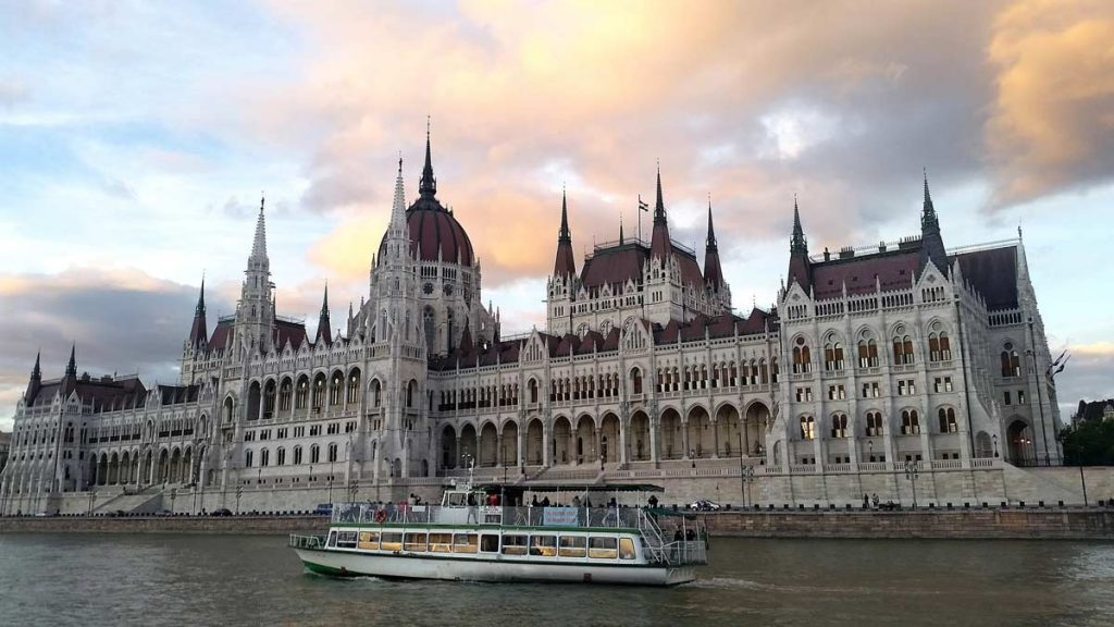 Ship cruise in Budapest with the Parliament as the background